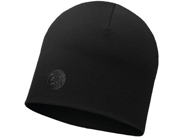 Buff Heavyweight Merino Wool Casquette Normal, solid black